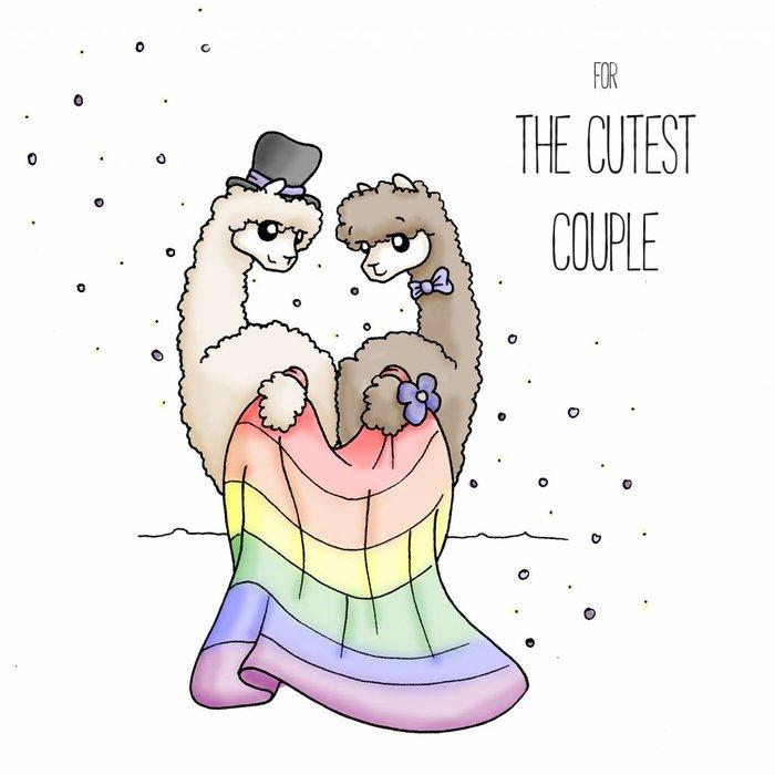 Cool Biker Alpaca - Wedding Card - Gay Couple