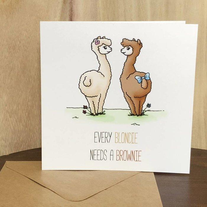 Blondie & Brownie - BFF's - Alpaca Card