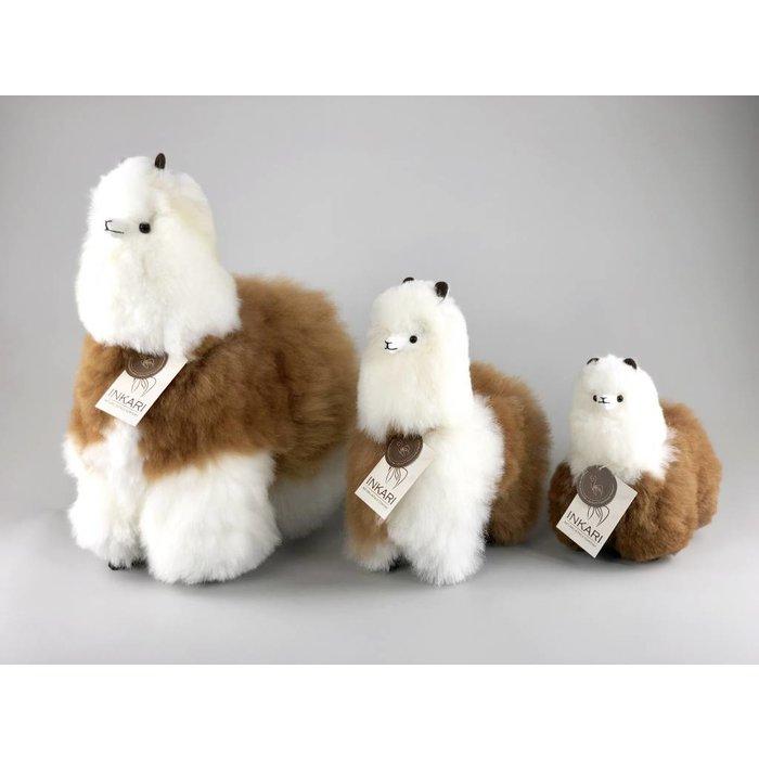 'Big Alpaca' - Fluffy Toy' - Handmade - Hypoallergenic - White/Brown