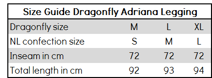 Size Guide Dragonfly Adriana Leggings