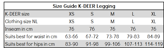 Size Guide K-DEER legging
