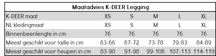 Maatadvies K-DEER legging