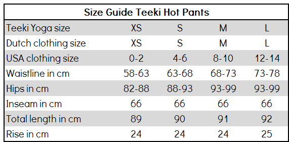 Size Guide Teeki Hot Pants