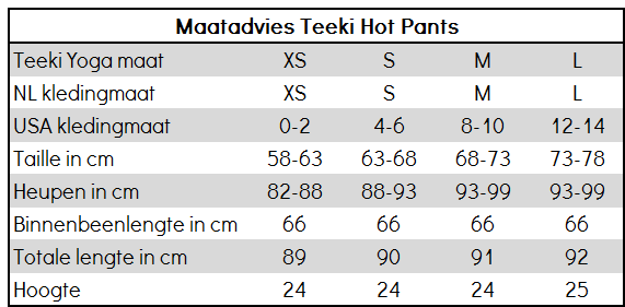 Maatadvies Teeki Hot Pants