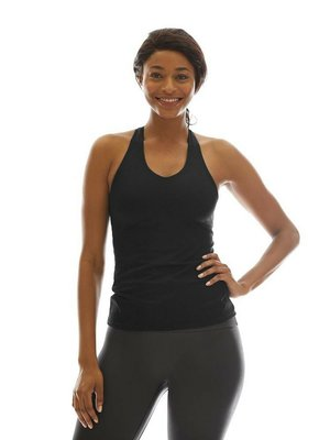 K-DEER Tank Top with Shelf Bra - Solid Black (XS/S/L)