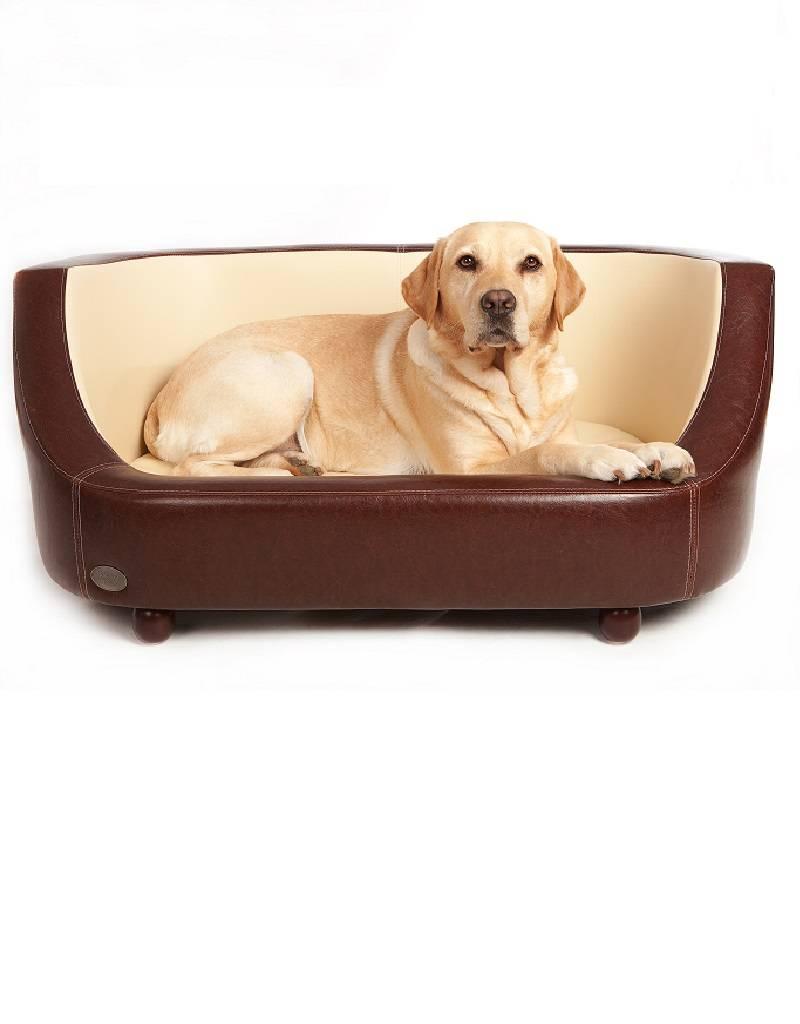 Chester & Wells Banc pour chien Oxford de coleur brune large taille