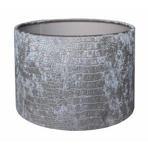 RamLux Lampenkap 25 cm Cilinder CROC Velours Zilver