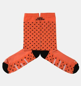 Good Cycling Neon Oranje Polkadot sokken