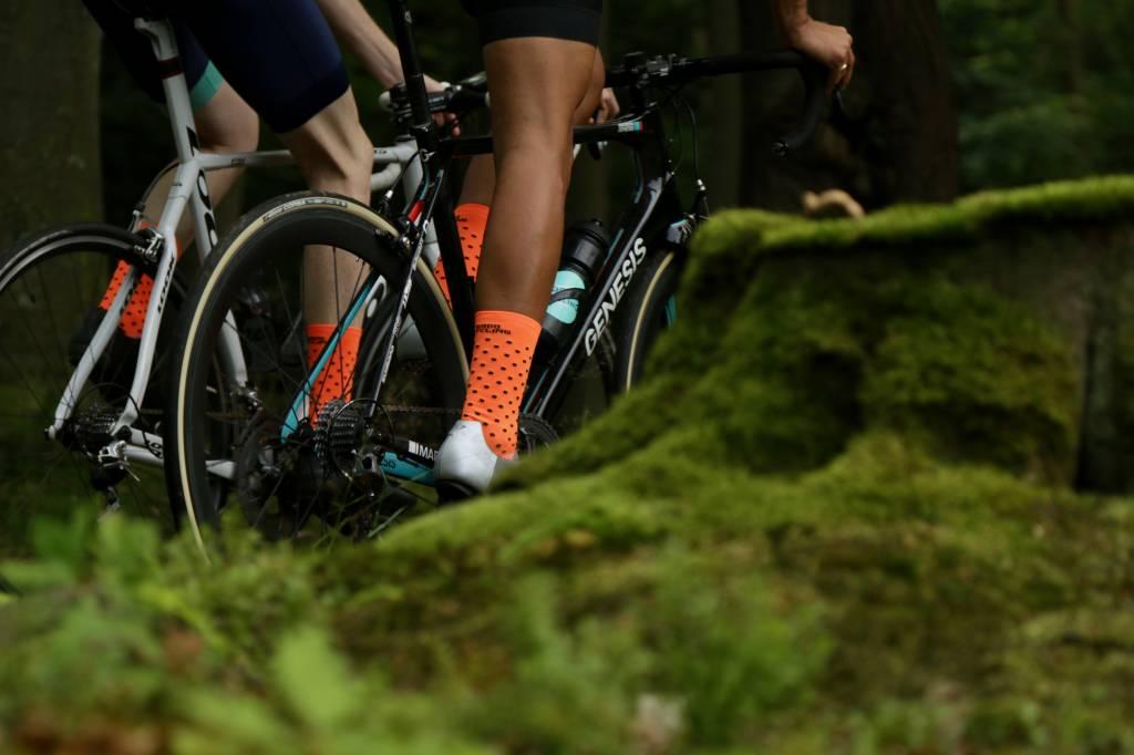 Good Cycling Neon Orange with black polka dots cycling socks