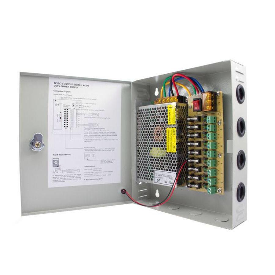 CW-VK10-9 - 12 volt 10A voedingskast met 9 aansluitingen