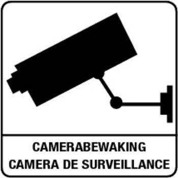 "Bordje ""camerabewaking"" 10 x 10 cm - Wit/zwart"