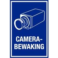 "Bord ""camerabewaking"" 15 x 20 cm - Blauw/wit"