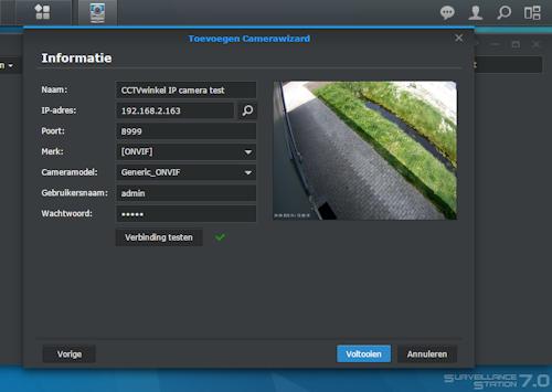 Stap 5, IP camera aan Synology toevoegen