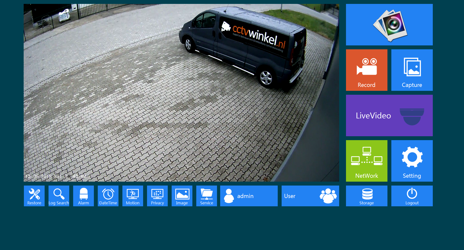 IP camera beginscherm