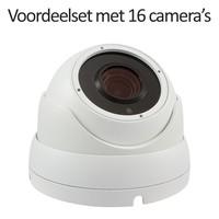CHD-CS16DA3-W - 16 kanaals NVR inclusief 16 witte CHD-DA3 IP camera's