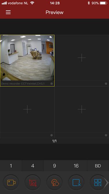 Camera bekijken via app