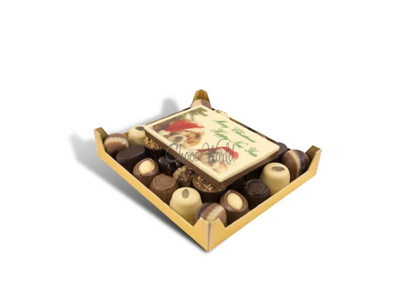 Chocolaterie Vink Slagroom bonbons assortie klein met chocolade kerstkaart