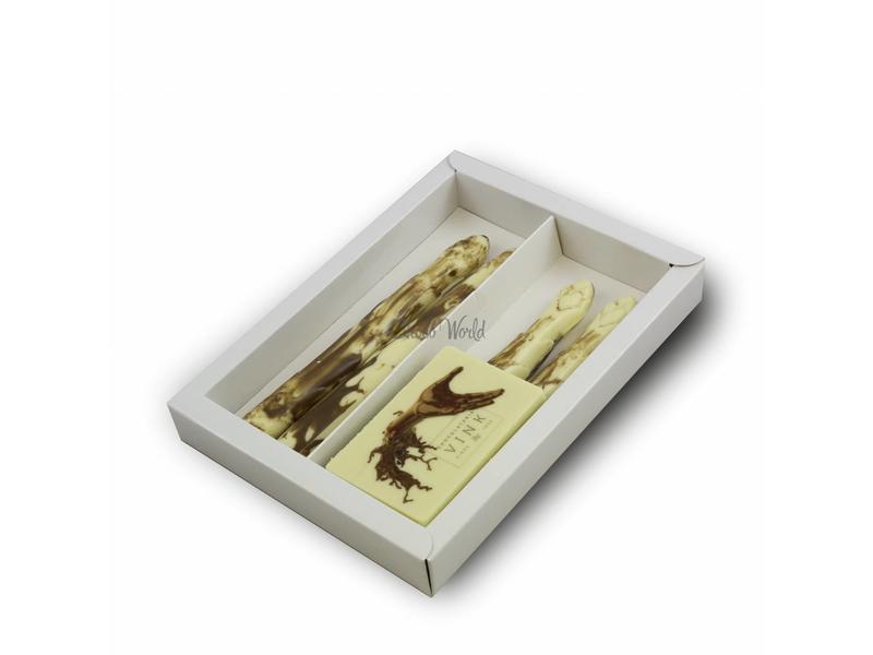 Chocolaterie Vink Chocolade Asperge met foto/logo