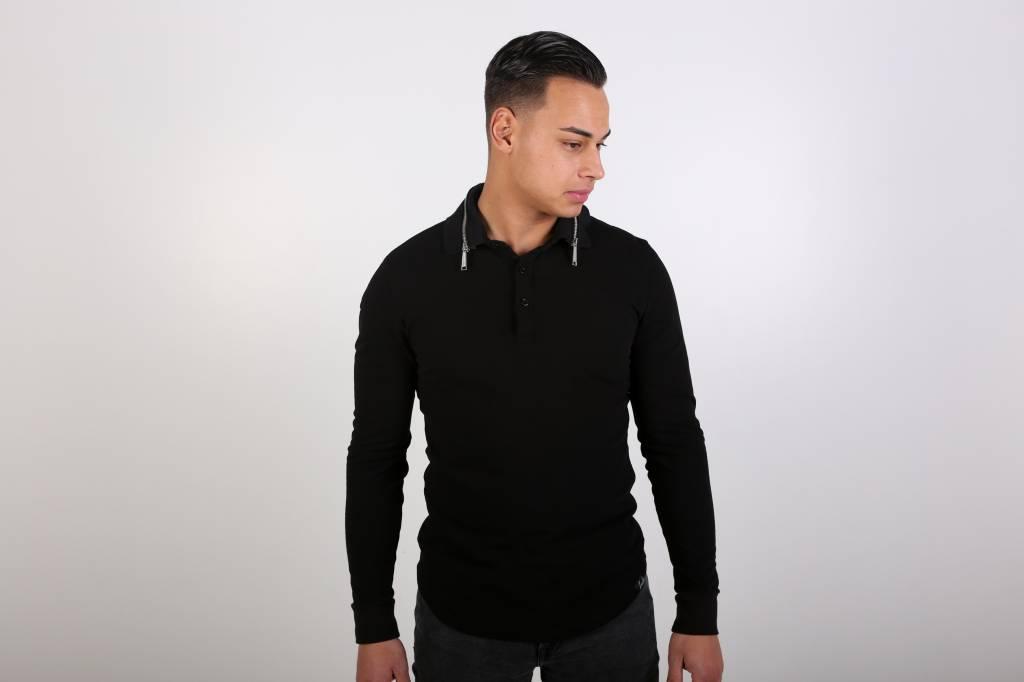 Icelus Clothing Zip Polo Longsleeve Black