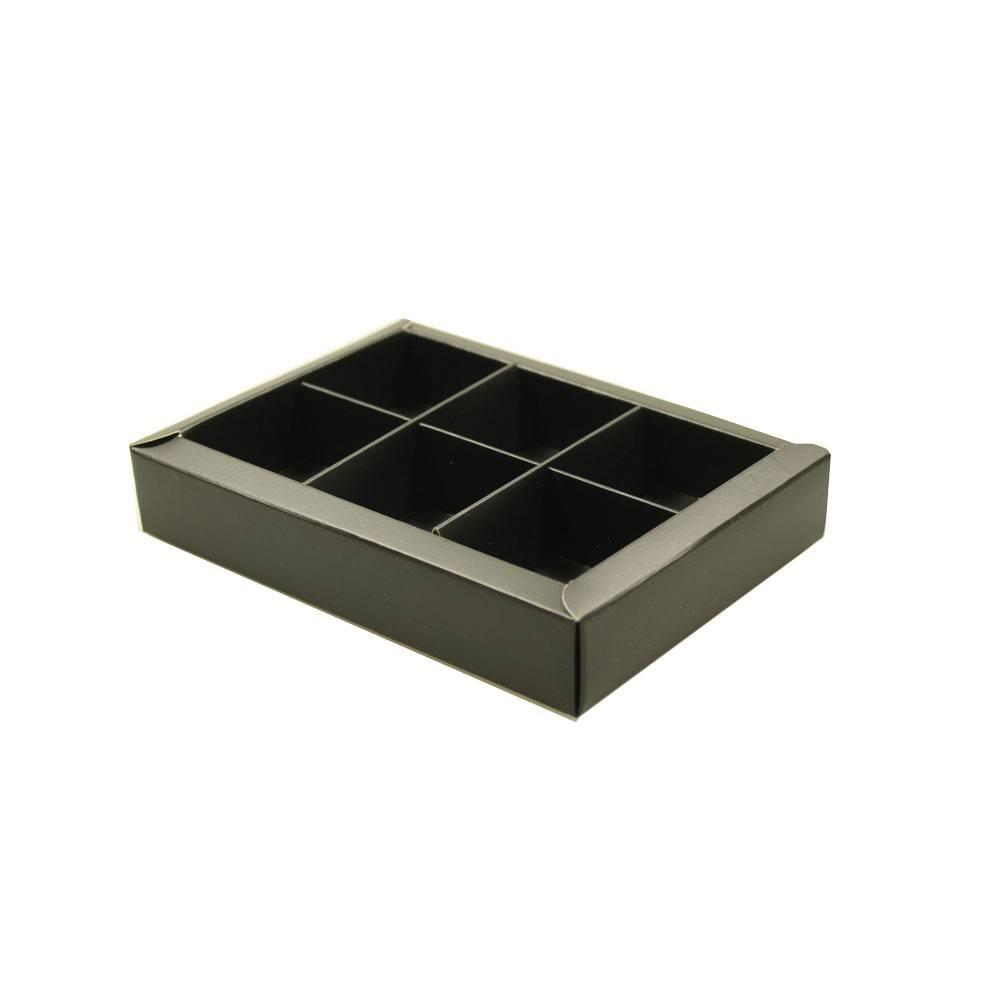 6 vaks doosje mat zwart - 130*90*30mm - 50 stuks