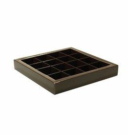 Dark brown square window box with interior for 16 chocolates