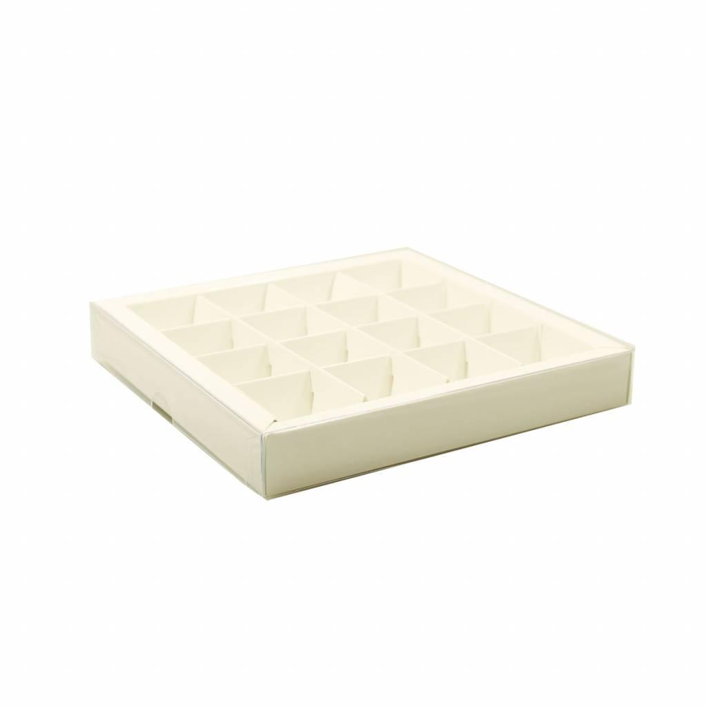 Wit vierkant vensterdoosje met vakverdeling voor 16 bonbons - 155*155*25 mm - 35 stuks