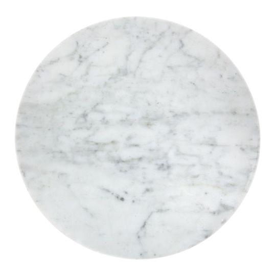White marble round platter