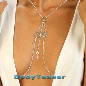 Silber Nippel Halskette mit Handschellen und mit süßen Schlüssel anhänger