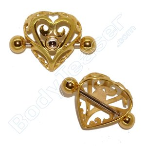 Nipple Crown Jewelery, Heart Shield, Gold on 925 Silver