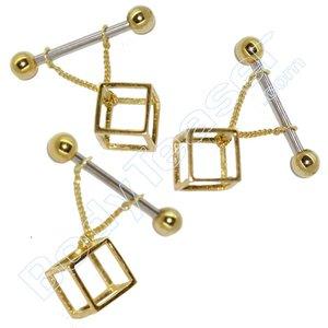 Tepelpiercing sieraad 3D Kubus, goud op 925 zilver