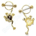 "Nipple Piercing ""Frog"" Gold on Silver"