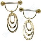 """Tepelpiercing """"Ringen"""", goud op zilver"""