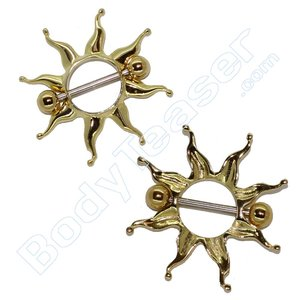 Nipple Piercing Jewelery, Sunburst, Gold on 925 Silver