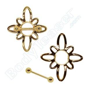 Nippel-Piercing Schmuck, Blume schild, Gold am 925 Silber