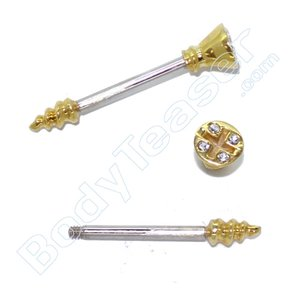 Nippel-Piercing Schraube, Gold am 925 Silber