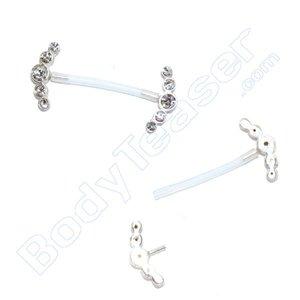Nipple Piercing Jewelery, 2 Halves, 925 Silver - PTFE