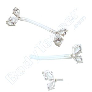 Nippel-Piercing Schmuck Doppelkristall, 925 Silber - PTFE