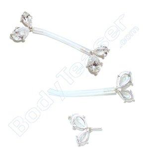 Nipple Piercing Jewelery double Crystal, 925 Silver - PTFE