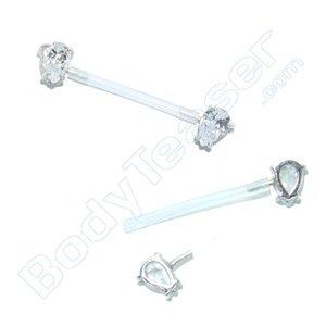 Nipple Piercing Jewelery single Crystal, 925 Silver - PTFE