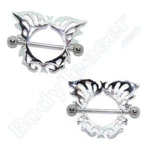 Nippel-Schild Schmuck , Schmetterling, 925 Silber