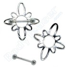 """Nippel Schild """"Blume"""", 925 Silber"""