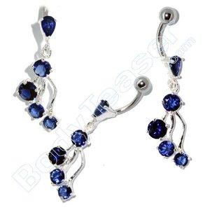 Navel sieraad, , Cool Blue, 925 zilver