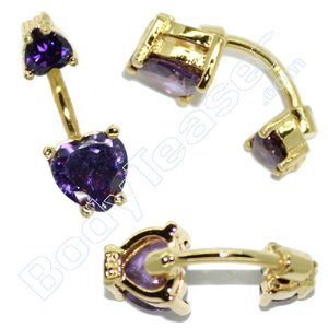 Bellybutton Piercing Jewelery, Deep Purlpe, Gold on 925 Silver
