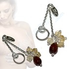 Nipple dangles with Citrines and Garnets
