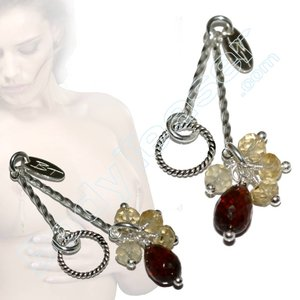Non piercing Nipple Dangles with real Citrines and Garnets gems