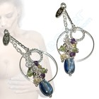 Nipple dangles with Kyanite, Peridot, Citrien, Amethyst en Smokey Quartz