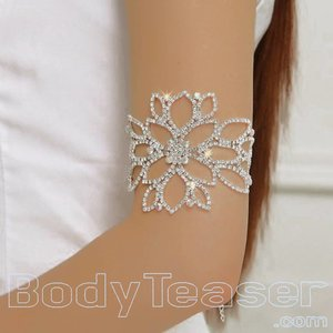 Flower Armlet, Upper Armband with Rhinestones