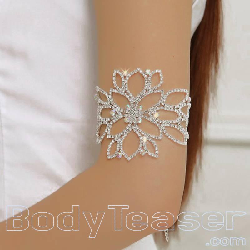 flower armlet upper armband with rhinestones bodyteaser. Black Bedroom Furniture Sets. Home Design Ideas