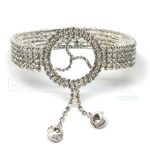 Armlet, Upper Armband with Rhinestones and BDSM symbol