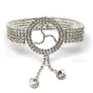 Bovenarmband, Armlet met Rhinestones en BDSM symbool